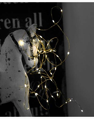 Star Trading String light 40 LED, 390cm, mässingstråd. Batteridriven.