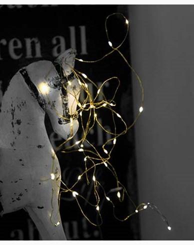 Star Trading String light 40 LED, 390cm, messing tråd, batteridrevet