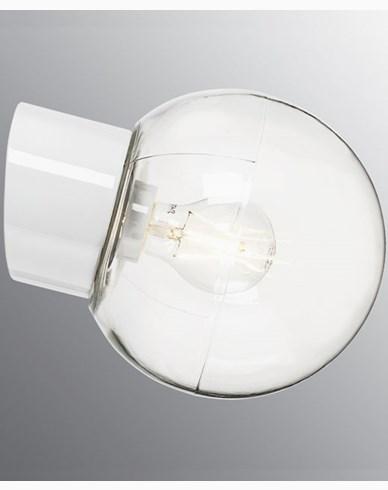 Ifö Electric Classic Globe skrå klart glass Ø180 mm Hvit. 6045-510-10