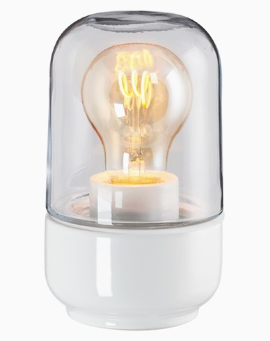 Ifö Electric Ohm 100 højde 170 mm hvit klarglas IP44 E27 40W. 8341-510-10