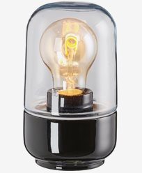 Ifö Electric Ohm 100 højde 170 mm svart klarglas IP44 E27 40W. 8341-510-16