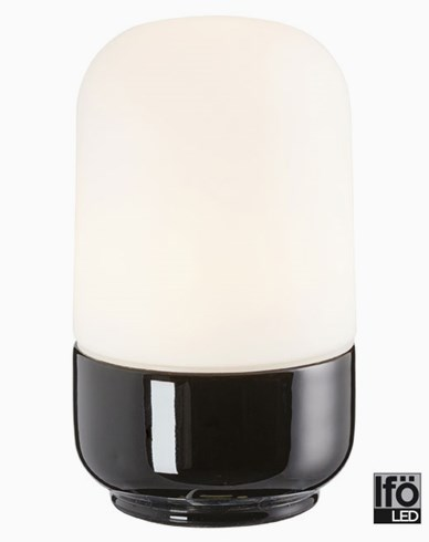 Ifö Electric Ohm 100/170mm svart opal IP44 LED 8W/3000 800lm Ra>90. 8341-800-16