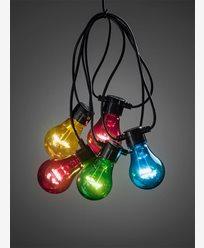 Konstsmide Lyslenke 5 fargede LED-pærer m timer 6h 4xAA. Batteridrevet. 2372-500