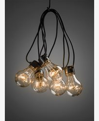 Konstsmide Ljusslinga E27 5 amber LED-lampor m timer 6h 4xAA. Batteridriven. 2372-800