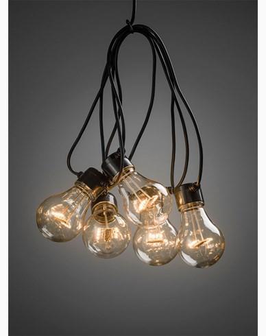 Konstsmide Lyslenke 5 amber LED-pærer m timer 6h 4xAA. Batteridrevet. 2372-800