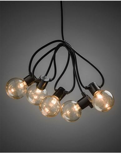Konstsmide Lyslenke E14 20 LED-pærer amber 6V/IP44. 2374-800