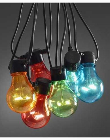 Konstsmide. Ljusslinga E27 20 X 0,48W färgade LED-lampor på svart kabel IP44/trafo. 2379-500. Ej Kopplingsbar
