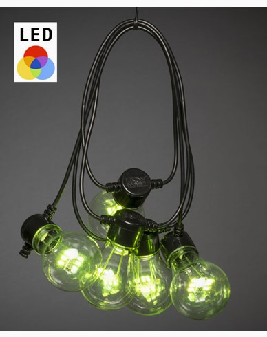 Konstsmide Lyslenke 10 skiftende RGB LEDpærer 5V/IP44. 2381-500