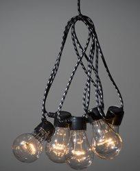 Konstsmide ljusslinga E27 10 LED-lampor amber 24V/IP20. Sv/v textilkabel. 2382-720