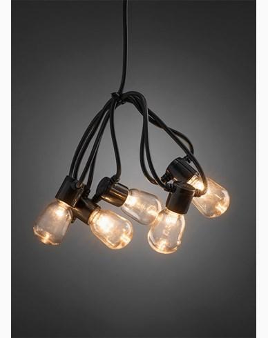Konstsmide Lyslenke E14 20 ovale LED-pærer amber 6V/IP44. 2386-800