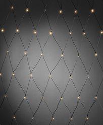 Konstsmide Batteridriven Ljusslinga nät 80 varmvita LED, skymningssensor och timer. Svart