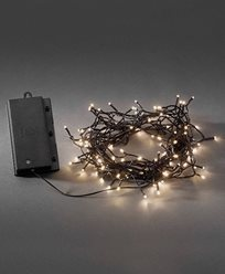 Konstsmide Batteridriven Ljusslinga 120 varmvita LED, skymningssensor och timer. Svart. 3729-100