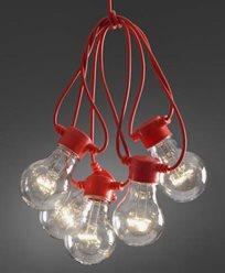 Konstsmide. Lyslenker E27 klare 10 X 0,48W varmhvite, klare LED-pærer og rød kabel. IP44/trafo. 2378-105. Ikke koblingsbare