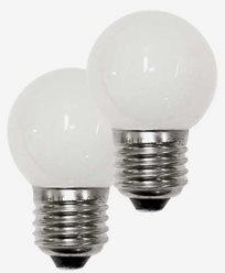 Konstsmide Färgade LEDlampor - klotformade extralampor E27 vit 2-p