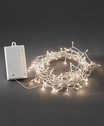 Konstsmide Batteridrevet Lysslynge 480 varmhvite LED, skumringssensor og timer. Transparent. 3731-103