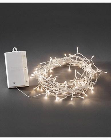 Konstsmide Batteridriven Ljusslinga 480 varmvita LED, skymningssensor och timer. Transparent. 3731-103