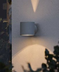 Konstsmide Modena vägglykta G9 round grå. 7342-300. Lackad aluminium