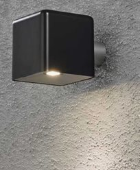 Konstsmide Amalfi vägglampa 3W 12V svart plast ink trafo + sladd. 7681-750