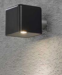 Konstsmide Amalfi vegglampe 3W 12V svart plast ink trafo + sladd. 7681-750