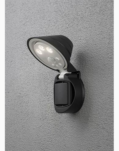 Konstsmide Prato vegglampe 1,5 W LED bevegelsesensor batteri Svart. 7695-750