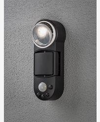 Konstsmide Prato vegglampe 1W LED bevegelsesensor batteri Svart. 7696-750