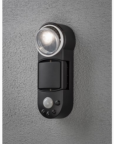 Konstsmide Prato vägglykta 1W LED rörelsevakt batteri Svart. 7696-750
