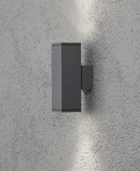 Konstsmide MONZA vägglykta antracitgrå upp/ned kvadratisk GU10. 7907-370