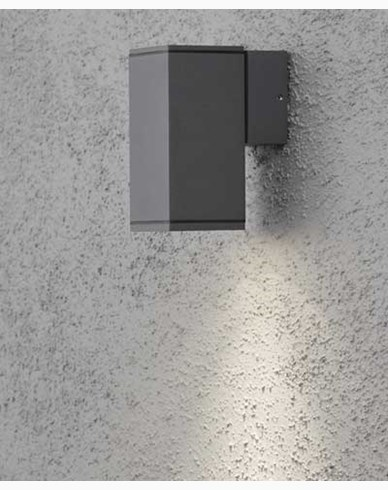 Konstsmide MONZA vägglampa antrasitgrå upp/ned kvadrat GU10. 7908-370