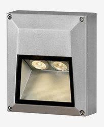 Konstsmide Chieri vägglampa 2x1W 230V LED kvadrat aluminium 7914-310