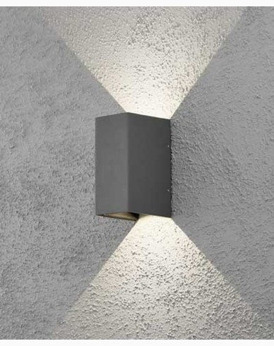 Konstsmide Cremona vägglampa mörkgrå 2x3W 230V LED. 7940-370