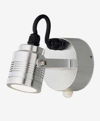 Konstsmide Monza vägglampa riktbar alum 3W 230V LED rörelsevakt 7941-31