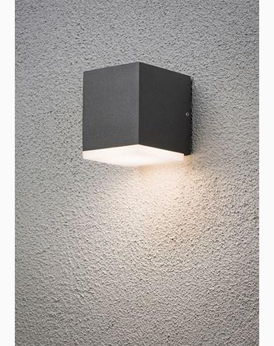 Konstsmide Monza vegglampe ned kub 6W High Power LED Mørk grå. 7990-370