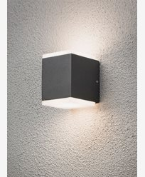 Konstsmide Monza vägglampa upp/ned cube 2x6W High Power LED grå. 7991-370