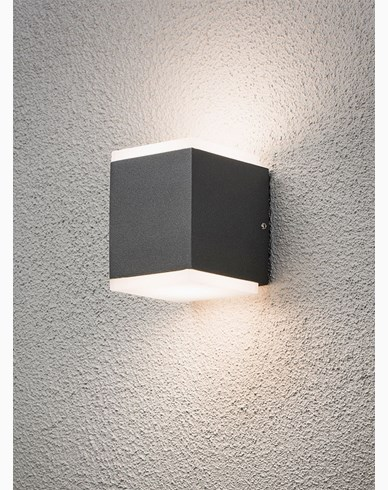 Konstsmide Monza vägglampa upp/ned cube 2x6W High Power LED grå. 7991-370