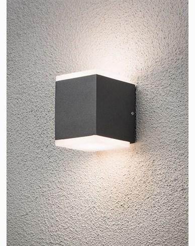 Konstsmide Monza vegglampe opp/ned cube 2x6W High Power LED mørk grå. 7991-370