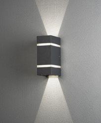 Konstsmide Cremona vegglampe opp/ned/fram 2x3W High Power LED grå. 7998-370