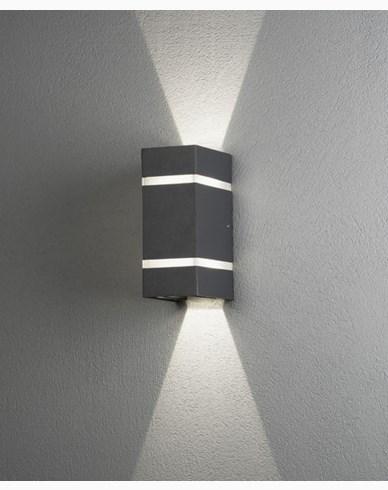 Konstsmide Cremona vägglykta 2x3W High Power LED grå. 7998-370