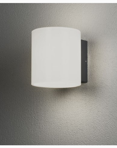 Konstsmide Foggia vegglampe High Power LED 10W mørkgrå/opal glass. 7859-372