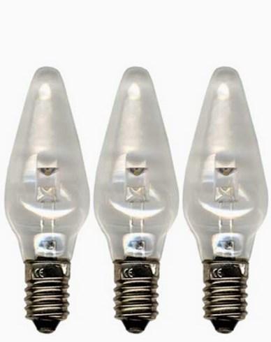 Universal LED pære 0,2W E10 10-55V klar. 3-pakke
