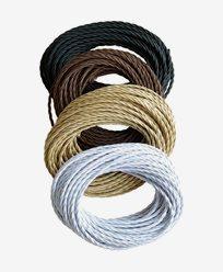 Texa Design vridd tekstil kabel - Svart