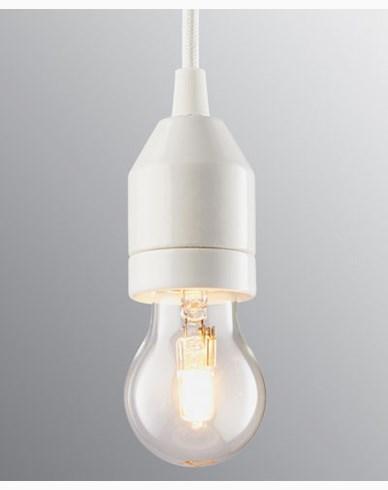 Ifö Electric KLACK Pendel hvit/hvit kabel IP20, E27, max 60W, 2m tekstilkabel, t
