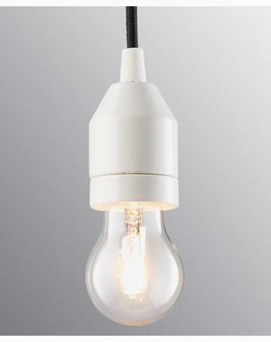 Ifö Electric KLACK Pendel hvit/svart kabel IP20, E27, max 60W, 2m tekstilkabel,