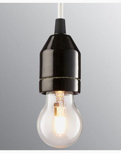 Ifö Electric KLACK Pendel svart/hvit kabel IP20, E27, max 60W, 2m tekstilkabel,
