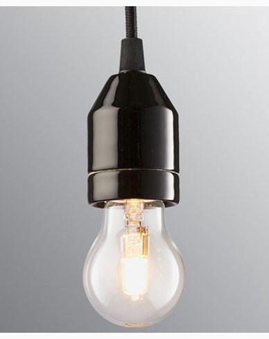 Ifö Electric KLACK Pendel svart/svart kabel IP20, E27, max 60W, 2m tekstilkabel,
