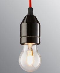 Ifö Electric KLACK Pendel svart/rød kabel IP20, E27, max 60W, 2m tekstilkabel, t