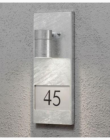 Konstsmide Modena vägglykta med husnummer 7655-320 Galvad
