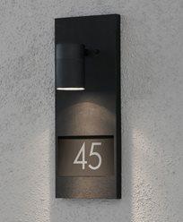 Konstsmide Modena vägglykta med husnummer 7655-750 Svart