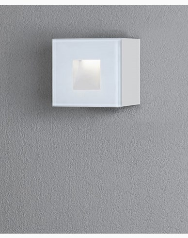 Konstsmide Chieri vägglykta 1,5W LED kvadrat vit