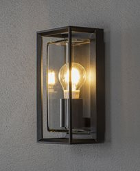 Konstsmide Brindisi vägglykta E27 svart, klarglas