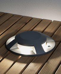 Konstsmide Markspot LED 12W mörkgrå 4-väg ovanpåliggande